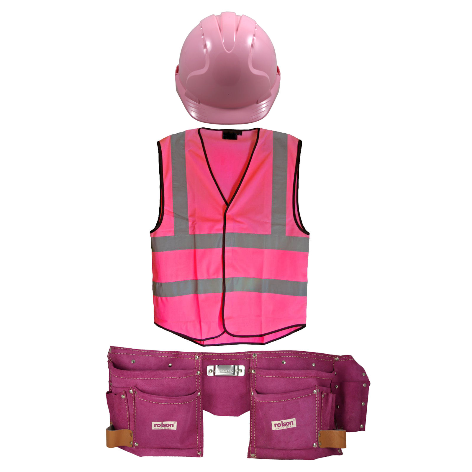 new womens pink builders fancy dress hi viz vest hat